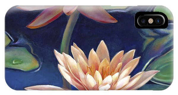 Peachy Pink Nymphaea Water Lilies IPhone Case