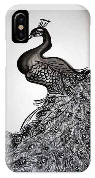 Peacock Sumie Ink IPhone Case