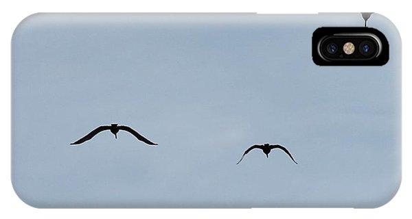 Pelicans In Flight Phone Case by Lorri Crossno