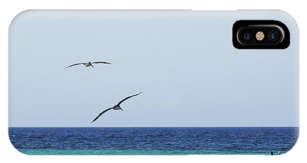 Pelicans In Flight Over Turquoise Blue Water.  IPhone Case