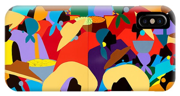 iPhone Case - Petion-ville Market Diptych by Synthia SAINT JAMES