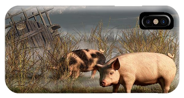 Barbeque iPhone Case - Pigs After A Storm by Daniel Eskridge