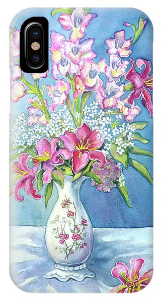 Pink Lillies In A Vase IPhone Case
