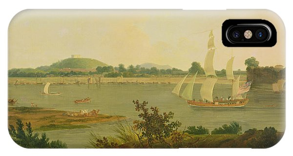 British Empire iPhone Case - Pinnace Sailing Down The Ganges Past Monghyr Fort by Thomas Daniell