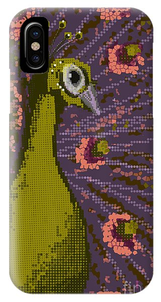 Pixel Peacock In Pink IPhone Case