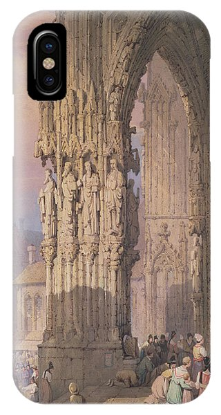 Porch iPhone Case - Porch Of Regensburg Cathedral by Samuel Prout