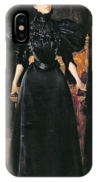 1895 iPhone Case - Portrait Of A Lady In Black by William Merritt Chase