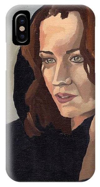 IPhone Case featuring the painting Portrait Of Becca 2 by Stephen Panoushek