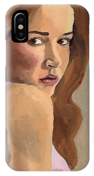 IPhone Case featuring the painting Portrait Of Laia by Stephen Panoushek