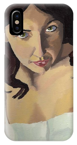 IPhone Case featuring the painting Portrait Of Zoe by Stephen Panoushek