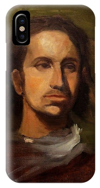 Portrait Young European Shepard Boy Noble Aristocrat Tired Face Enigmatic Sad Eyes Green Brown IPhone Case