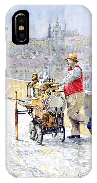 Organ iPhone Case - Prague Charles Bridge Organ Grinder-seller Happiness  by Yuriy Shevchuk