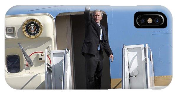 George Bush iPhone Case - President George Bush Waves Good-bye by Stocktrek Images