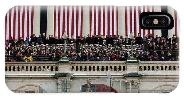 George Bush iPhone Case - President George W. Bush Makes by Stocktrek Images