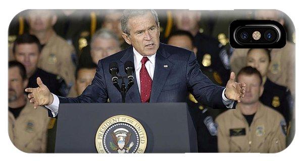 George Bush iPhone Case - President George W. Bush Speaks by Stocktrek Images