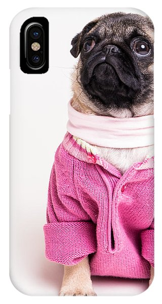 Pug iPhone X Case - Pretty In Pink by Edward Fielding