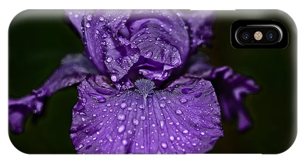 Purple Iris With Water Drops IPhone Case