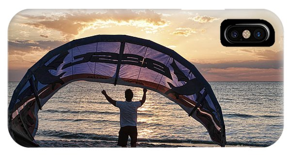 Putting Away The Kite At Clam Pass At Naples Florida IPhone Case