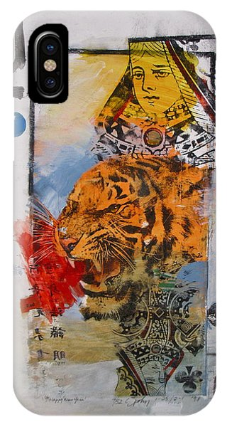 IPhone Case featuring the painting Queen Of Clubs 4-52  2nd Series  by Cliff Spohn