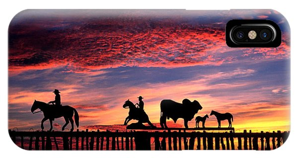 Texas iPhone Case - Texas Ranch Gate At Sunrise by David and Carol Kelly