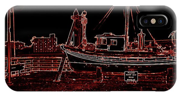 Red Electric Neon Boat On Sc Wharf IPhone Case