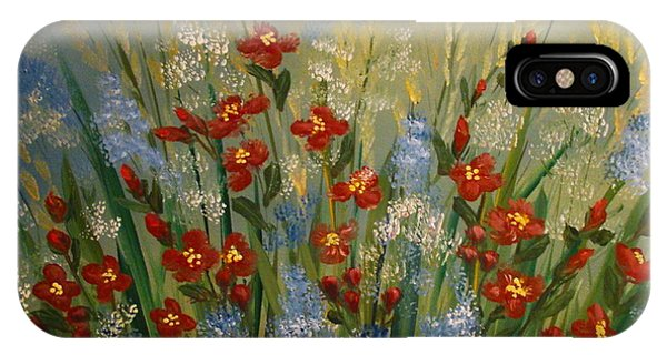 Red Flowers In The Garden IPhone Case