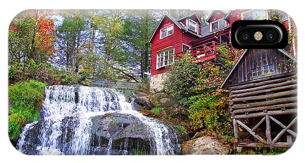 Red House By The Waterfall 2 IPhone Case