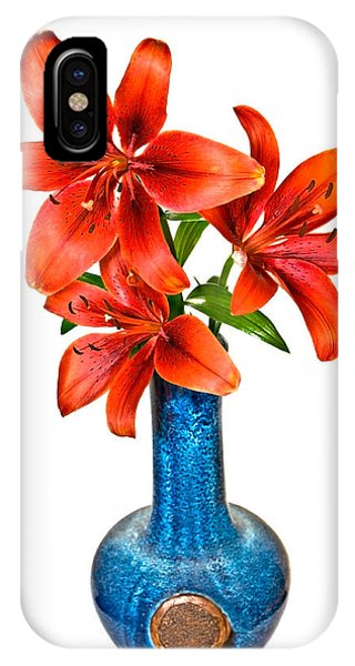 Red Lilies In Blue Vase IPhone Case