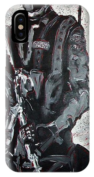 Red Marble Full Length Figure Portrait Of Swat Team Leader Alpha Chicago Police Full Uniform War Gun IPhone Case