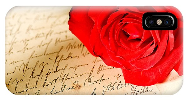 Red Rose Over A Hand Written Letter IPhone Case