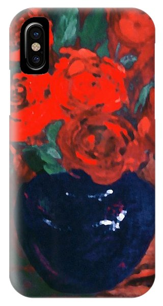 Red Roses Blue Vase IPhone Case