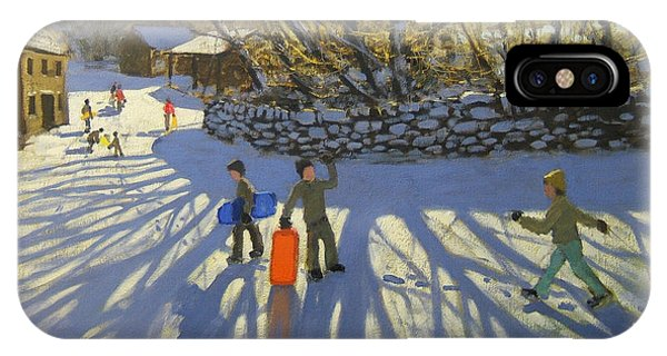 English Village iPhone Case - Red Sledge by Andrew Macara