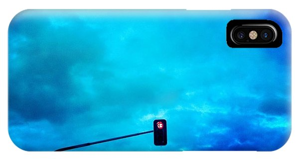 Light iPhone Case - Red Traffic Light And Cloudy Blue Sky by Matthias Hauser