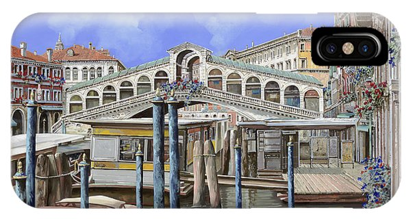 Docked Boats iPhone Case - Rialto Dal Lato Opposto by Guido Borelli