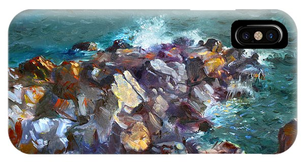 Seagull iPhone Case - Rocks Against The Ocean  by Ylli Haruni