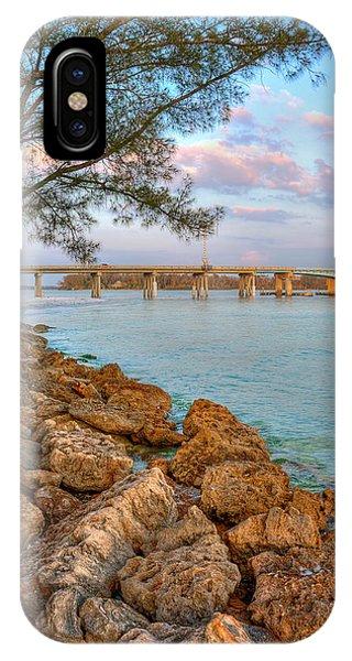 Rocks And Water Longboat Pass Bridge Phone Case by Jenny Ellen Photography