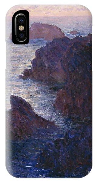 Barren iPhone Case - Rocks At Bell Ile Port Domois by Claude Monet