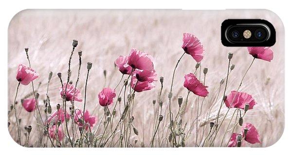 Wiese iPhone Case - Pink Poppy Field  by Tanja Riedel