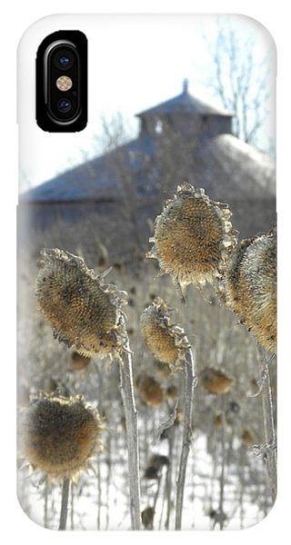Round Barn With Sunflowers IPhone Case