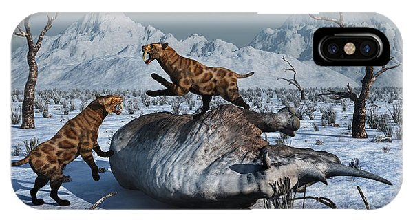 Frozen Food iPhone Case - Sabre-toothed Tigers Battle by Mark Stevenson