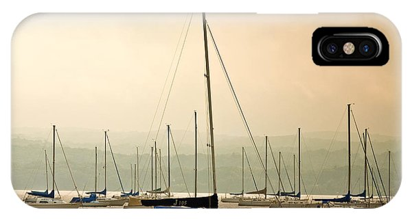 Sailboats Moored In The Harbor IPhone Case