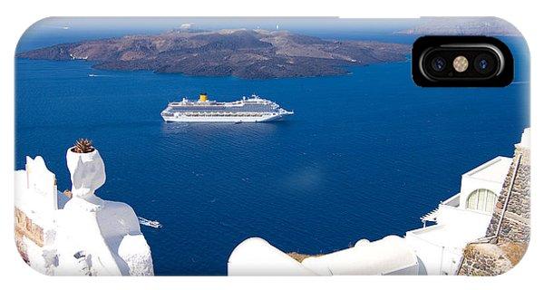Greece iPhone X Case - Santorini Cruising by Meirion Matthias