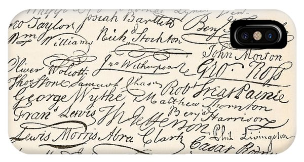 British Empire iPhone Case - Signatures Attached To The American Declaration Of Independence Of 1776 by Founding Fathers