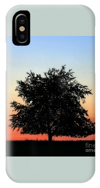 Make People Happy  Square Photograph Of Tree Silhouette Against A Colorful Summer Sky IPhone Case