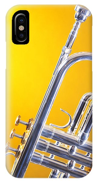 Trumpet iPhone Case - Silver Trumpet Isolated On Yellow by M K  Miller