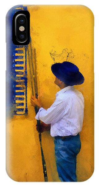 Spanish Man At The Yellow Wall. Impressionism IPhone Case