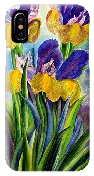 In Memory Of My Father - Three Blue And Yellow Irises Phone Case by Therese AbouNader