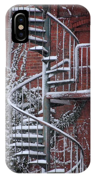 Spiral Staircase With Snow And Cooper's Hawk IPhone Case