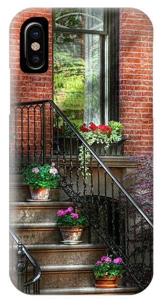 Brownstone iPhone Case - Spring - Porch - Hoboken In Spring by Mike Savad