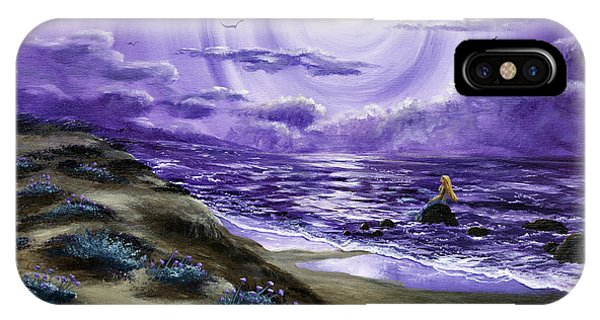 Half Moon Bay iPhone Case - Spying A Mermaid From Flowering Sand Dunes by Laura Iverson